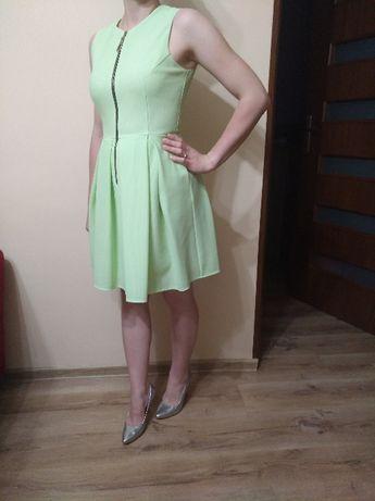 Zielona, seledynowa elegancka sukienka, roz. S.