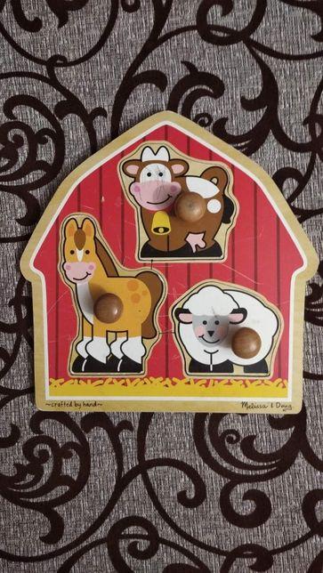 Деревянные пазлы Melissa&Doug Животные с фермы