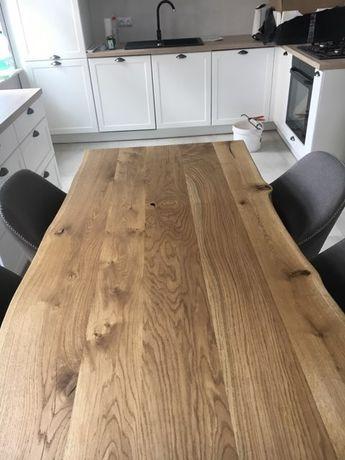 Stół dębowy OLEJOWANY Antic Oak styl industrialny czarna metalowa noga