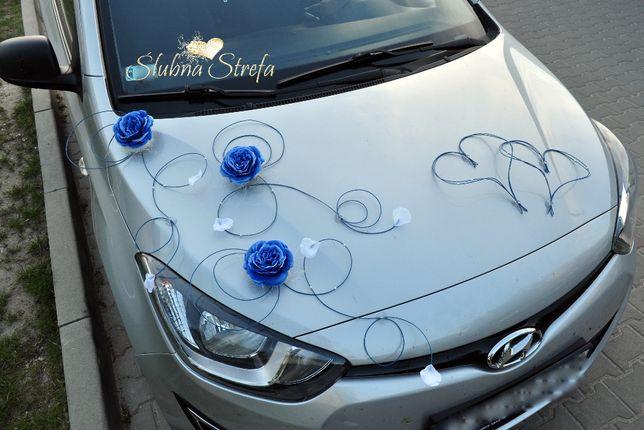 Chabrowa dekoracja na samochód, ozdoby na auto ślubne dekoracja auta