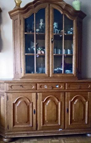sprzedam stylowe meble-dębowe -ozdobna wysoka komoda