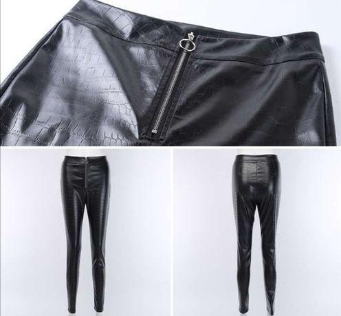 Spodnie skórkowe wysoki stan