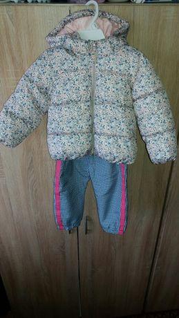 Kurtka zimowa i spodnie ocieplane rozmiar 86