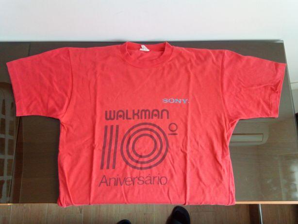 Vintage. T-shirt comemorativa dos 10 anos sony walkman