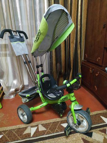 Велосипед с родительской ручкой трёхколёсный в хорошем состоянии