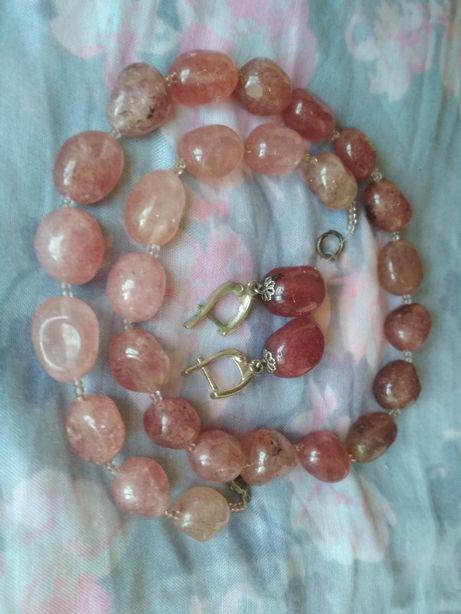 Бусы и серьги комплект камень авантюрин ожерелье колье