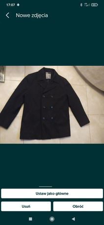 Płaszcz męski krótki 2XL wełna ciemny szary kurtka zimowa grafit