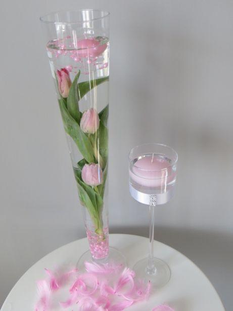 Wazon stożek szklany H 60 cm