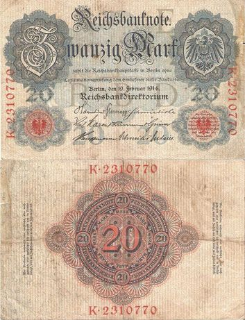 Stary banknot. 30  Wersja 1914