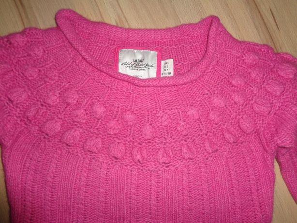 H&M L.O.G.G. różowy sweter sweterek 40% wool wełna 10% angora jak nowy