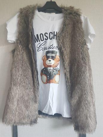 Kamizelka, t-shirt,i jeansy roz 38-40