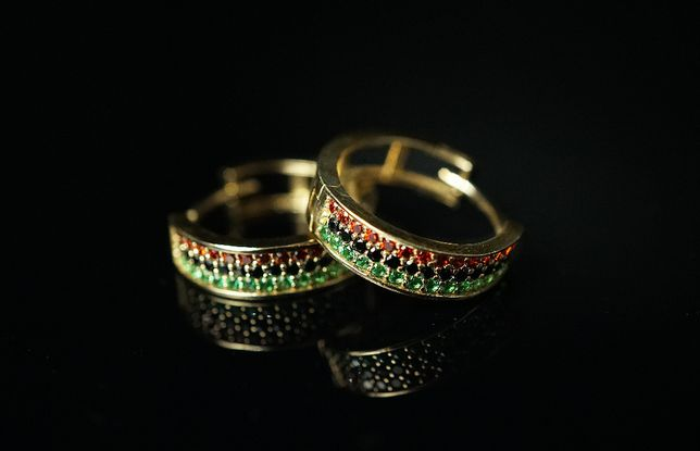 Złoto 585-złote kolczyki z cyrkoniami