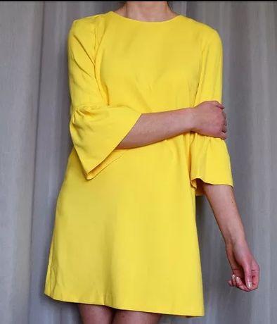 Żółta sukienka Zara falbany