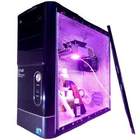 Гроубокс системник, стелс с LED освещением, фитолампа