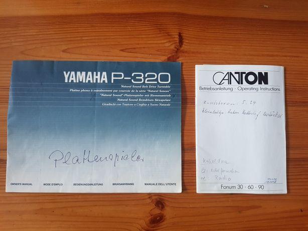 Dokumenty zakupu Canton oraz yamaha P-320