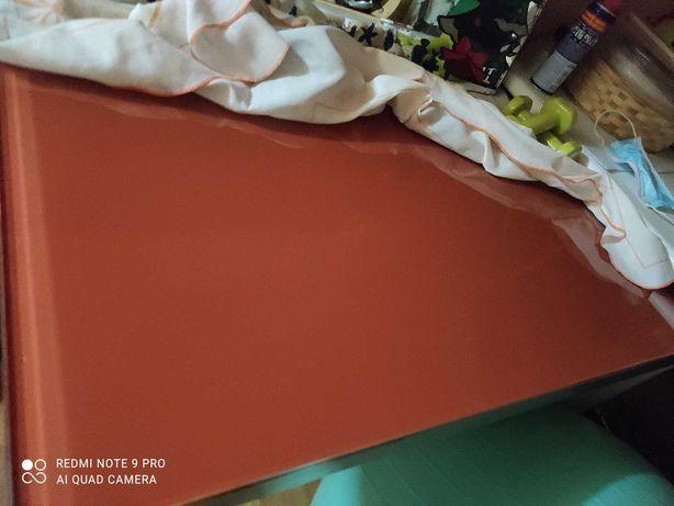Mesa cozinha extensível vidro cor de laranja com pés cromados