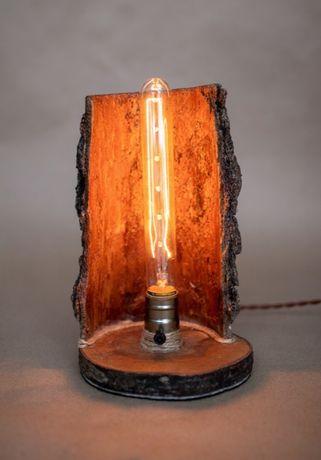 Светильник из дерева с корой, лампа Эдисона. Ручная работа