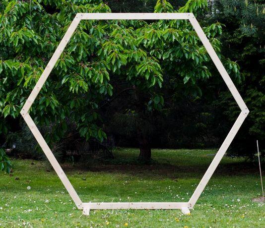 Heksagon dekoracja ślub wesele