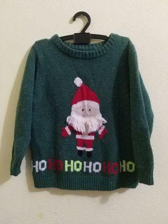 Вязаный новогодний свитер Next с дедом морозом, на рост 110 см