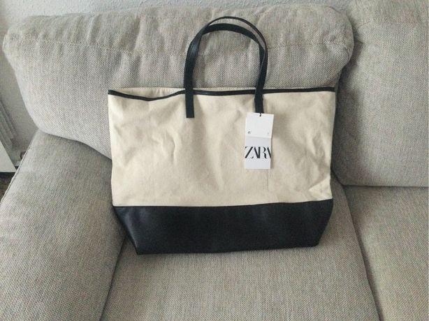 Сумка Zara  новая из холщовой ткани