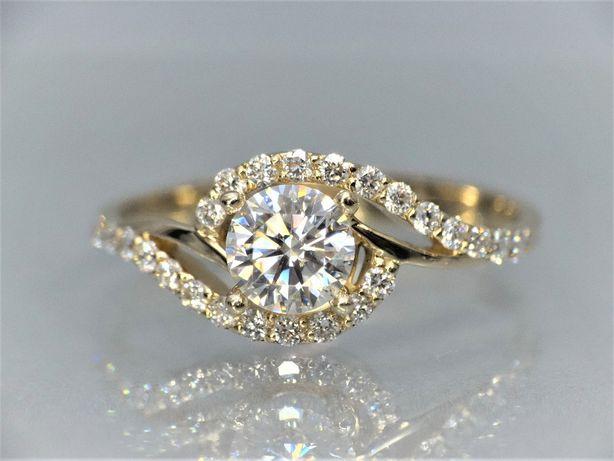 Złoty pierścionek z dużym brylantem diamentem 1,37 CT H SI2 VIN