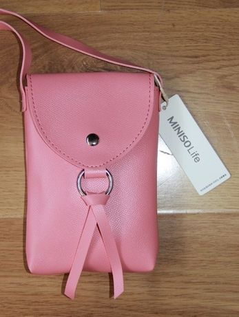Rózowa torebka MINISO listonoszka skora roz torba etui telefon apple