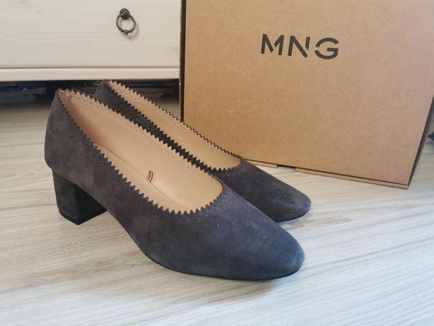 Skórzane buty Mango Zamsz Obcas Czółenka Balerinki Półbuty Słupek