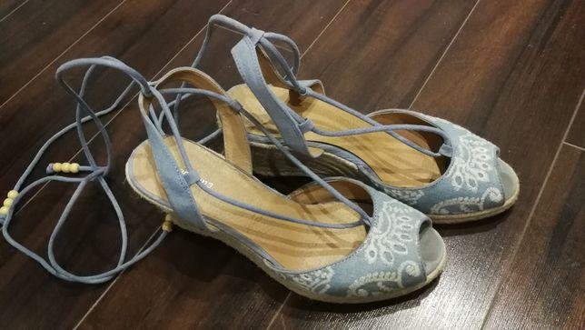 Sandalki błękitne słomiane haft wiazane na kostce sexi niewysokie