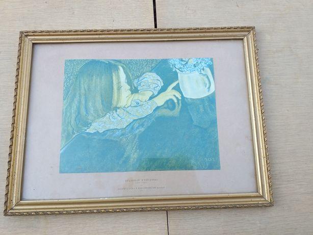 """Obraz Stanisław Wyspiański """"dziewczynka z dzbanuszkiem"""" pastel"""