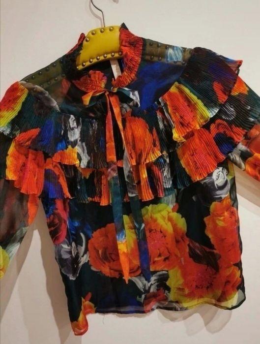 Koszula S w kwiaty typu kolorowy ptak plisy falbany Olesno - image 1