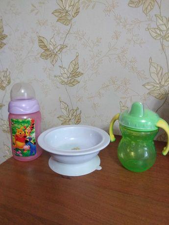 Набор Тарелка поильник бутылочка детские
