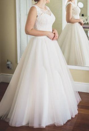 Suknia Ślubna princessa bardzo jasny pudrowy róż piękna Hadassa