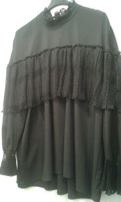 Piękna czarna bluzka z koronką rozm. 40 NOWA