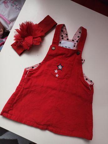 Czerwona sukienka r80 zestaw