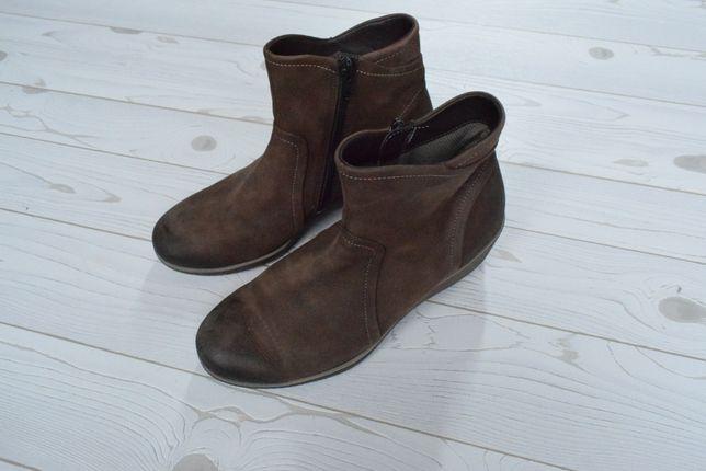 ECCO r. 38 wk. 24,5 cm Skórzane botki kozaki buty damskie