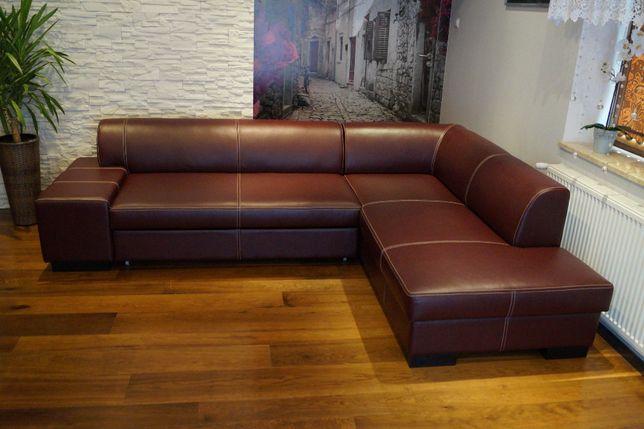 Skórzany narożnik 275x200cm, rogówka ze skóry, sofa SKÓRA, PRODUCENT