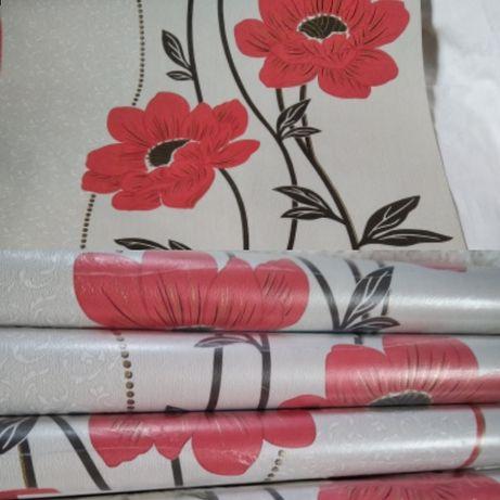 Обои шпалери с цветами бумажные