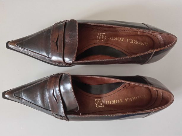 Loafers/ Sapatos de salto baixo para senhora em pele tamanho 35