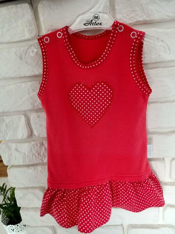 Czerwona sukienka tunika dla dziewczynki