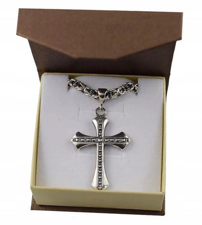 Łańcuszek Srebrny Oksydowany Z Krzyżykiem +GRAWER