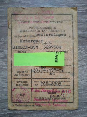 37 letnie potwierdzenie zgłoszenie do rejestracji Simson S-51