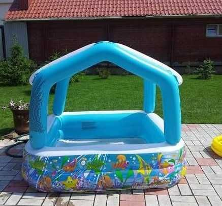 Бассейн Детский Intex, надувной / со съемной крышей - Домик