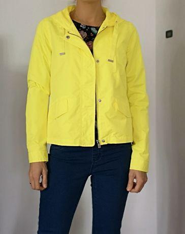 NOWA żółta kurtka z kapturem neonowa krótka na jesień cytrynowa