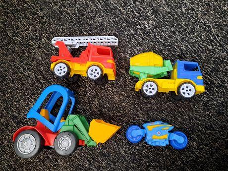 Машинки детские игрушечные погрузчик бетономешалка пожарная, мотоцикл