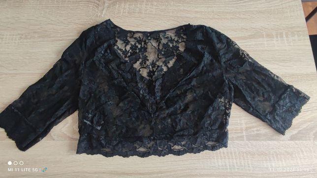 Czarna koronkowa koszulka bluzka nocna piżama