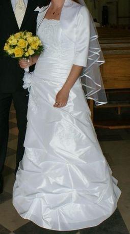 Suknia ślubna, bolerko, halka z kołem, welon