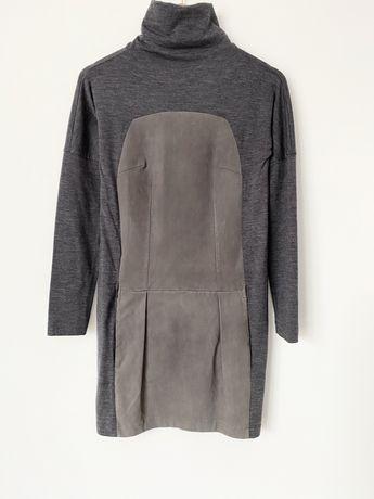 Шерстяное платье Brunello Cucinelli кожаное с вставкой кожи