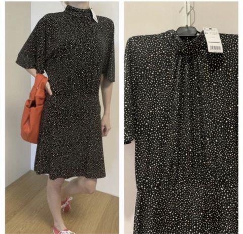 Плаття Mango стильне чорне в білі крапочки Платье