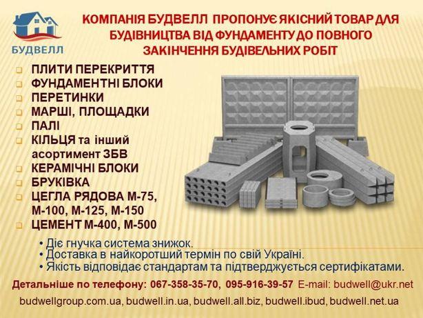 плити, панелі перекриття, фундаментні блоки, перемички, інші ЗБВ,