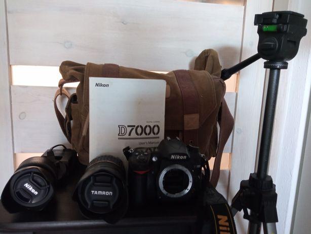 Nikkon D7000 z obiektywami i dodatkami